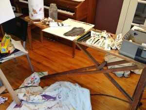 antique ironing board taboret